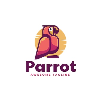 Vector logo illustratie papegaai eenvoudige mascotte stijl