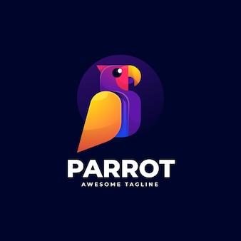 Vector logo illustratie papegaai gradiënt kleurrijke stijl