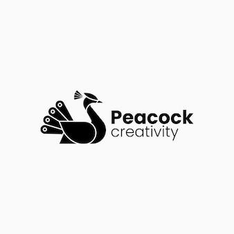 Vector logo illustratie pauw vliegende silhouetstijl