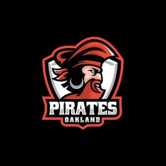 Vector logo illustratie pirate e sport en sport stijl