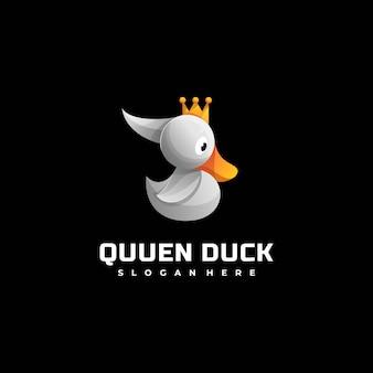 Vector logo illustratie queen duck kleurrijke kleurovergangsstijl.