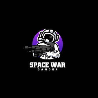 Vector logo illustratie ruimte oorlog eenvoudige mascotte stijl
