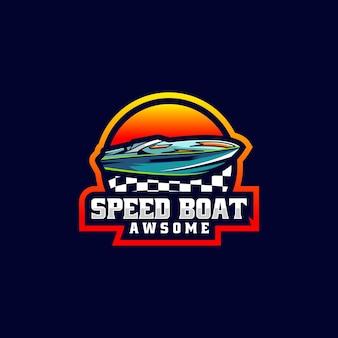 Vector logo illustratie speedboot e sport en sport stijl