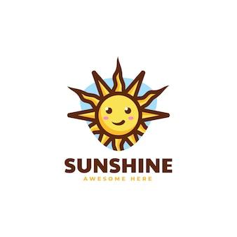 Vector logo illustratie sunshine eenvoudige mascotte stijl