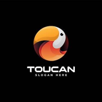 Vector logo illustratie toekan gradiënt kleurrijke stijl