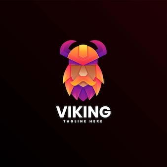 Vector logo illustratie viking kleurverloop kleurrijke stijl