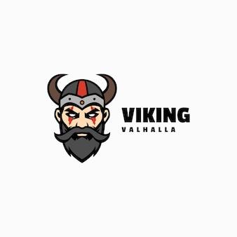 Vector logo illustratie viking mascotte cartoon stijl