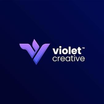 Vector logo illustratie violet gradiënt kleurrijke stijl