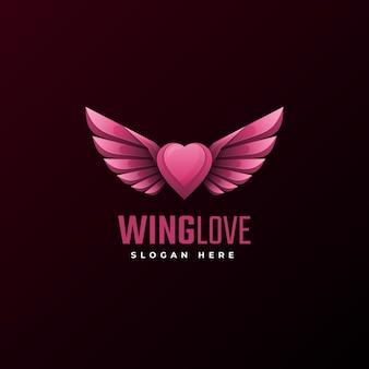Vector logo illustratie vleugel liefde gradiënt kleurrijke stijl