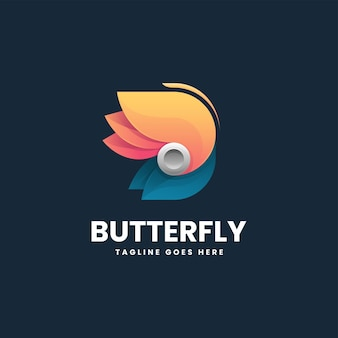 Vector logo illustratie vlinder gradiënt kleurrijke stijl