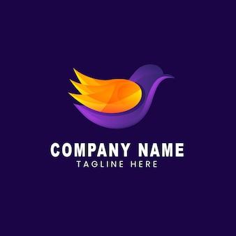 Vector logo illustratie vogel gradiënt kleurrijke stijl