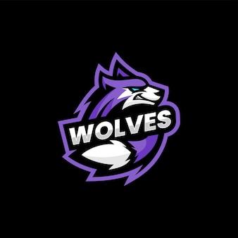 Vector logo illustratie wolf e sport en sport stijl