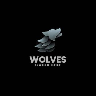 Vector logo illustratie wolf gradiënt kleurrijke stijl