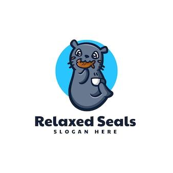 Vector logo illustratie zeehonden mascotte cartoon stijl