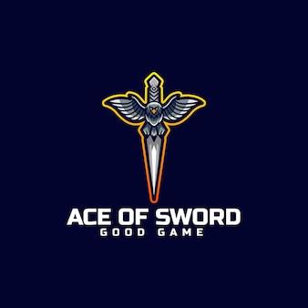 Vector logo illustratie zwaard e sport en sportstijl
