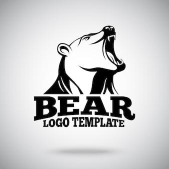 Vector logo sjabloon met brullende beer voor sportteams