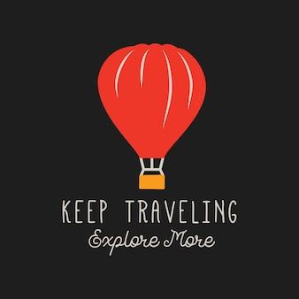 Vector logo van hete luchtballon op zwarte achtergrond
