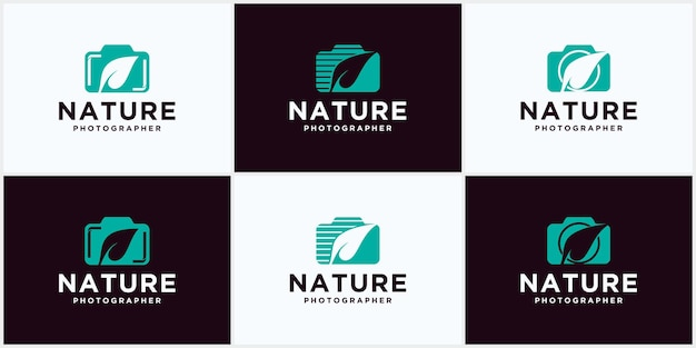 Vector logo voor natuurliefhebber fotograaf, camera vector leaf logo design, nature photography symbol
