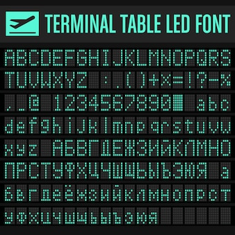 Vector luchthaven terminal table led font set