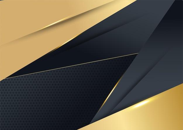 Vector luxe tech achtergrond. stapel zwarte papieren materiaallaag met gouden streep. premium behang in pijlvorm