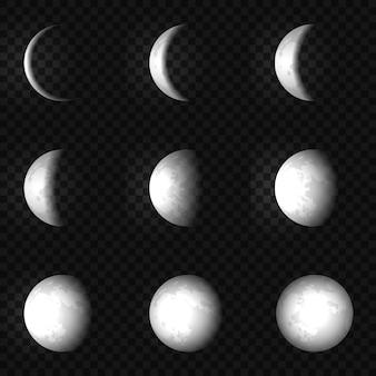 Vector maanfase instellen illustratie