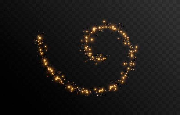 Vector magische gloed sprankelend licht sprankelend stof png een sprankelende spiraal een lijn van licht