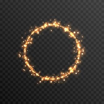Vector magische gloed sprankelend licht sprankelend stof png gloeiend frame gouden cirkel png