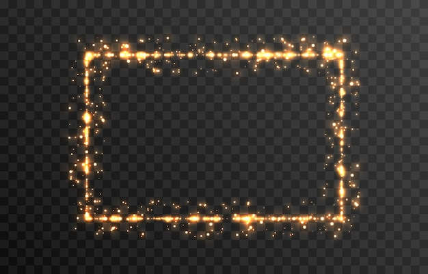 Vector magische gloed sprankelend licht sprankelend stof png gloeiend frame kerstlicht png