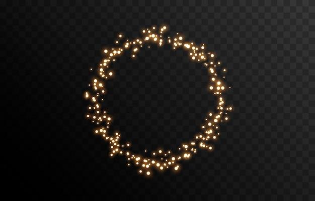Vector magische gloed sprankelend licht sprankelend stof png gloeiend frame kerstlicht