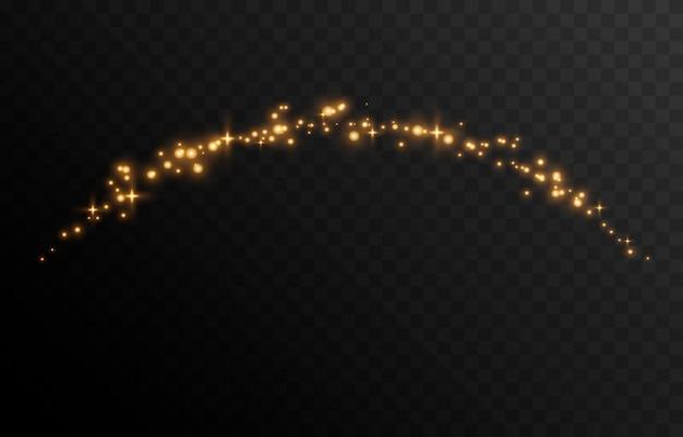 Vector magische gloed sprankelend licht sprankelend stof png gloeiende lichtlijn kerstlicht
