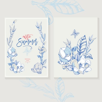 Vector magnolia uitnodiging wenskaart