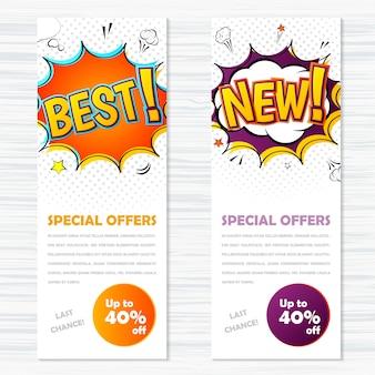 Vector malplaatjesbanners in grappige stijl, pop-art. beste en nieuwe, speciale aanbiedingen
