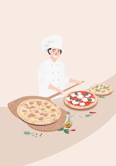 Vector man kok en italiaanse pizza's