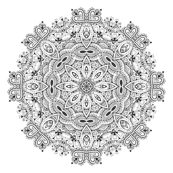 Vector mandala patroon van henna bloemen elementen op basis van traditionele aziatische ornamenten. paisley mehndi tattoo doodle illustratie met handgetekende elementen