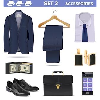 Vector mannelijke accessoires set 3 geïsoleerd op een witte achtergrond