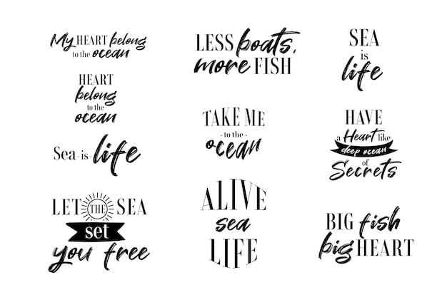 Vector mariene citaten zee of oceaan leven zinnen