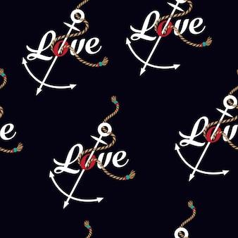 Vector mariene touw knoop naadloze patroon met woord liefde