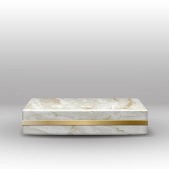 Vector marmeren textuur vierkant podium met gouden decoratie op grijs