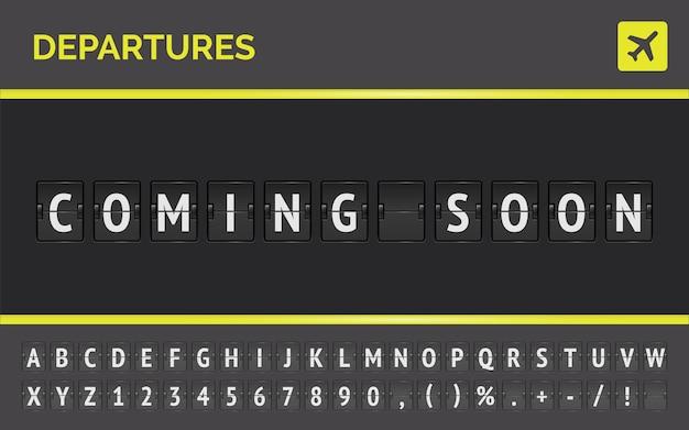 Vector mechanisch luchthavenscorebord voor vluchten die binnenkort beschikbaar zijn. vlucht vertrek flip bord met vliegtuigteken