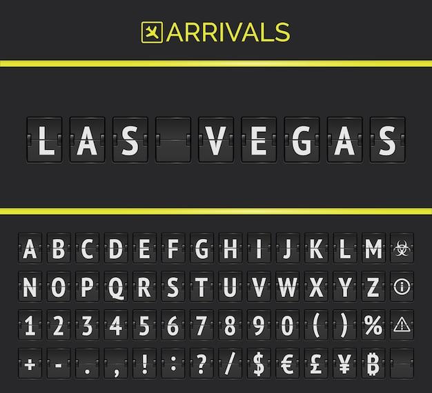 Vector mechanisch luchthavenscorebord voor vluchten en treinen naar het land van casino las vegas. vluchtaankomsten flip bord met vliegtuigteken