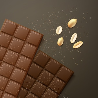 Vector melk en bittere chocoladerepen met pinda's, bovenaanzicht geïsoleerd op donkere achtergrond