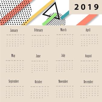 Vector memphis nieuwjaars kalender