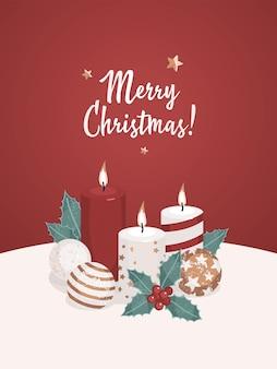 Vector merry christmas concept met kaarsen en kerstversieringen