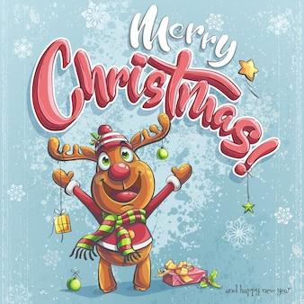 Vector merry christmas illustration kerst herten, geschenkdoos