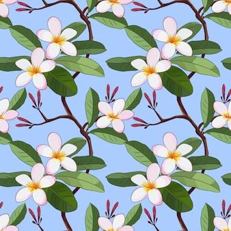 Vector met plumeria-bloemen op blauw naadloos patroon.