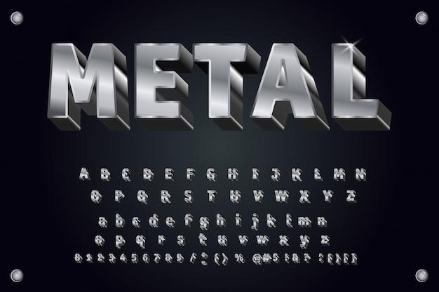 Vector metalen lettertype 3d vet typografie