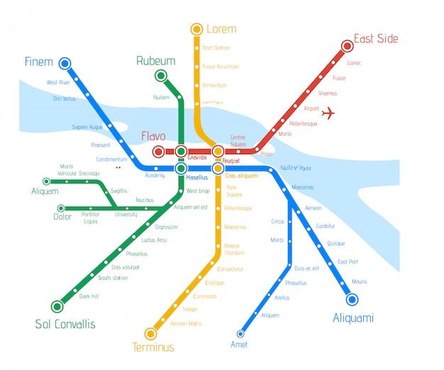 Vector metro kaart met rivier.