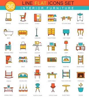 Vector meubels platte lijn pictogrammen instellen