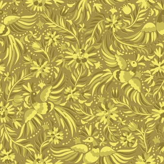Vector mexicaans borduurwerk gouden naadloos patroon