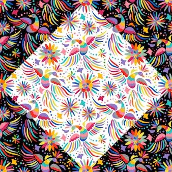 Vector mexicaans borduurwerk naadloos patroon